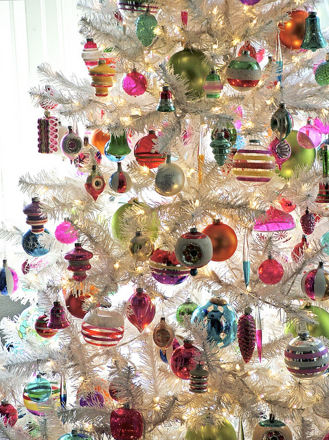 Vintage Ornaments on White Christmas Tree by charlie3engineer on Flickr