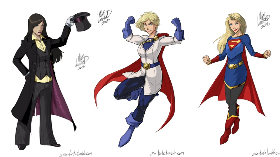 Lundsford's fully clothed superheroines