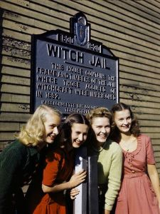 Girls pose by a jail that recalls the witch trials of 1692 in Salem, 1945 [click on this image to find a short clip and analysis on the study of deviance in sociology] Photo Credit: B. Anthony Stewart/National Geographic Society/Corbis © Corbis. All Rights Reserved.