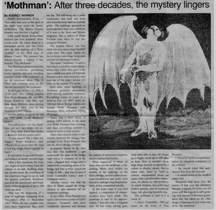 The Mothman is also said to be a tulpa created through urban legends and popular beliefs. Source: http://www.reocities.com/stalkerssuck/mothman.html