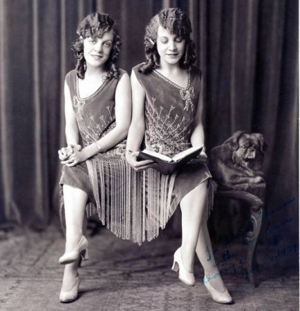 Daisy and Violet Hilton circa  1920s. Source: http://sydneyflapper.tumblr.com/post/9328579777/schlitzie-daisy-and-violet-hilton-circa-1920s