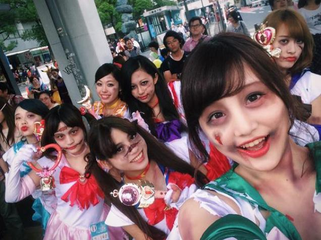 Zombie Sailor Scouts in Japan via http://kotaku.com/japan-is-good-at-halloween-1651638038