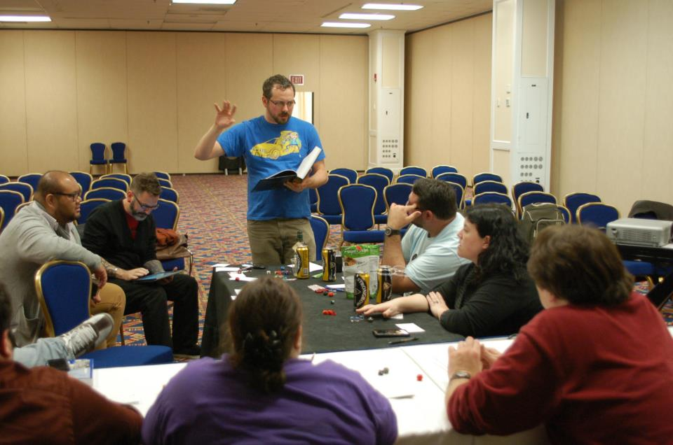 Playing role-playing games at one of the Game Studies area's annual game nights.