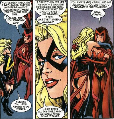 Captain Marvel and Scarlet Witch, via MarvelComicTumblr, http://marvel-comic.tumblr.com/page/4