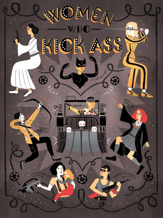 Women Who Kick Ass by Rachel Ignotofsky, http://rachelignotofsky.tumblr.com/post/128266678086/check-out-this-poster-that-i-did-for-fandangocom