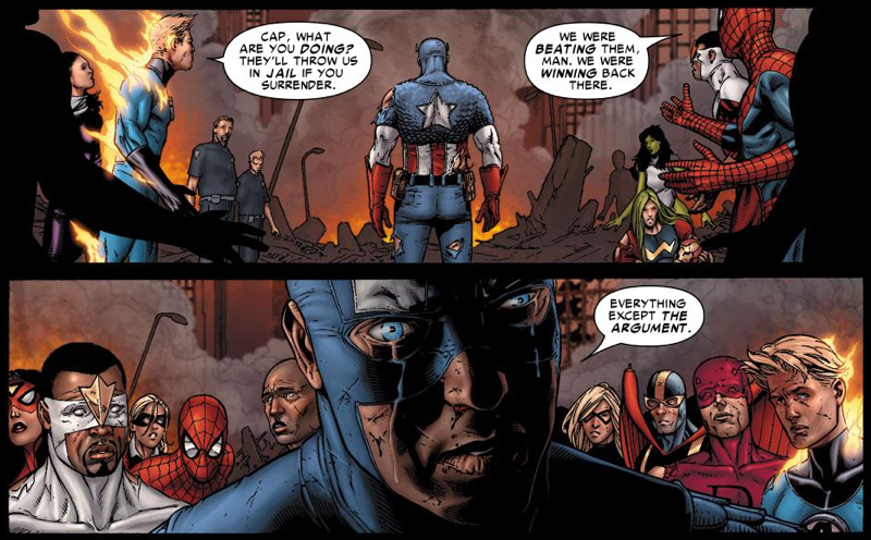 Civil War comics, http://www.hollywoodreporter.com/sites/default/files/custom/CivilWar-Surrender.jpg