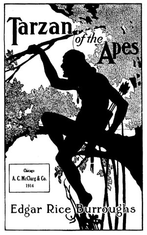 Couverture du livre Tarzan of the Apes par Fred J. Arting, 1914. Creative Commons