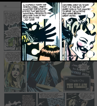 Frame from Alan Moore's V for Vendetta