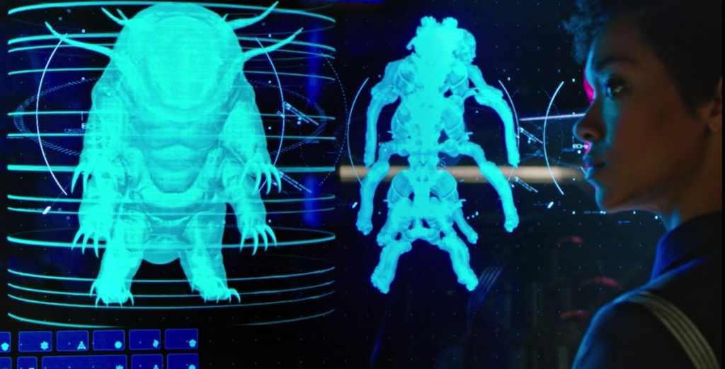 "Burnham confronts the tardigrade ""Ripper"""